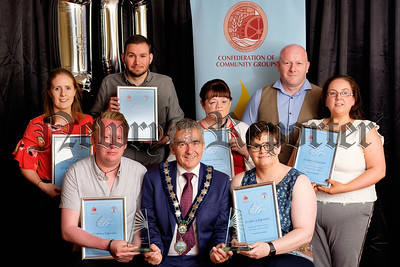 Cllr Mark Murnin, Chairperson, Newry, Mourne and Down District Council , sponsors, with the nominees in the Age 25-49 category at the Confederation of Community Groups, Patricia Graham Shining Light Community Volunteering Awards 2018 in the Canal Court Hotel, Newry.  Included from left: Clara Killen, An Riocht Camogie Club; Lawrence McCullough, (Joint Award recipient), Cedar Foundation; Matthew Marshall, Newry Rainbow Community; Mark; Gemma Clarke, SPACE; Sinead McGrath, (Joint Award recipient), Arbour House; Ernie Campbell, Barcroft/ Ballybot Residents Association and Kerrie Cartmill, The Active Group. Photograph: Columba O'Hare/ Newry.ie