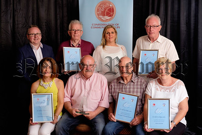 The nominees in the Older Peoples Project at the Patricia Graham Shining Light Community Volunteering Awards 2018 in the Canal Court Hotel were, front from left: Ballyholland Sunshine Club represented by Gloria Havern; Derrybeg Community Allotments, (Award recipients),  represented by Mickey McLoughlin and Billy Jones and Newry VIP Club represented by Marie Rafferty. Back from left: Shea Graham, family representative; City of Newry U3A represented by Paul Pollard; Rosemary Rooney, representing sponsors, First Derivatives and Accolade Ukulele Orchestra represented by Colin Barr. Photograph: Columba O'Hare/ Newry.ie