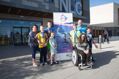 Medals galore for NMDD's Sportability Paralympic Swimming squad at the Disability Sport NI annual swimming championships. Pictured with the medal winners are Ciara Lowe and their coach Micki O'Connor. R1826012