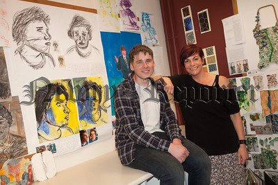 Newry Hign School Art Exhibition Sinead Young is pictured with Deividas Misiunas. R1827002