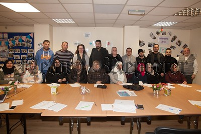 Sara Miller from SRC is pictured with Syrian refugees who took part in an ESOL class at Space. The program is run by Newry, Mourne and Down DC and delivered by the Southern Regional College. R1803003