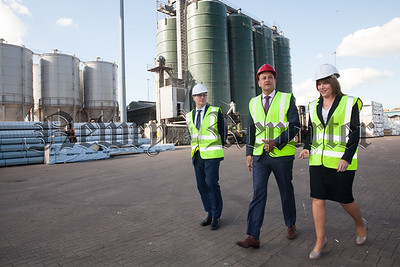 Taoiseach Leo Varadkar is pictured at Warrenpoint Port with Clare Guinness CEO and Ciaran Grant Financial Director. R1818021