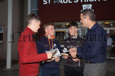 St Paul's Hs Bessbrook Principal Jarlath Burns chats to students Tiernan Kelly, Lorcan Cunningham and Jamie Stokes. R1834003