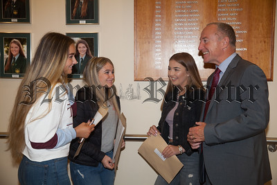Acting Sacred Heart Principal Paul Kane is picttured with Emma Harper, Anna Watson and Rhinna Curran. R1834008