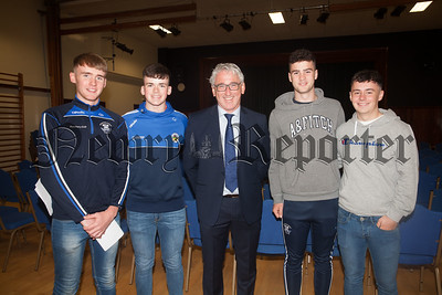 St Colman's College Principal Cormac McKinney is pictured with Conor Doherty, Liam Fearon, Cian Lyons and Conor Rocks. R1834010