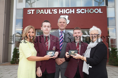 Head of Year Oonagh McArdle, Principal Jarlath Burns and Eileen Fearon are pictured with Harry Collins and Shane Malone who won the pupils of eth year for contribution to school lifel who recieved the Pupil of the Year Award. R1835008