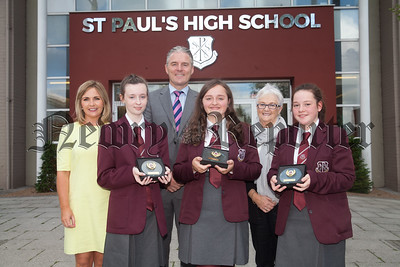 Head of Year Oonagh McArdle and Principal Jarlath Burns are pictured with Cara Hoey, Shauna Gibney and Maeve Reel who recieved the Pupil of the Year Award. R1835007
