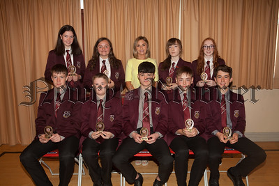 Head of Year Oonagh McArdle is pictured with Attendance Award winners. R1835003