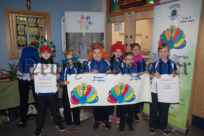 Pupils from St Clares Abbey PS are pictured wpromoting the Un Convention on the Rights of the Child. R1839009