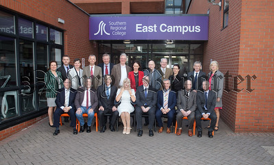 Brian Doran, Chief Executive – Southern Regional College, Mickey Brady - Sinn Fein, Mary Mitchell O'Connor TD, Irish Minister for State for Higher Education, Mark Murnin, Chairperson – Newry, Mourne & Down District Council, Dr Michael Mulvey, President-DKiT are pictured with members of the North Eastern Further and Higher Education Alliance. R1840002