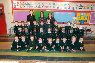 Primary 1 pupils at St Patrick's Ps pictured with Miss Fegan, Miss Rocks and Mrs Vallely. R1839006