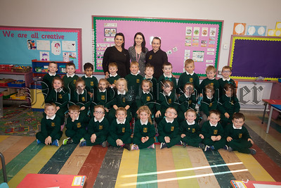 Primary 1 pupils at St Patrick's PS pictured with Mrs Scullion, Miss Travers and Miss Cunningham. R1839007