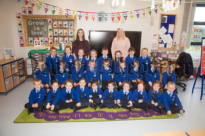 Mrs Gallagher and Mrs Morgan's Primary 1 class at St Clares Abbey PS. R1839012