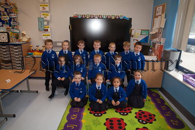 Mrs Davey and Mrs McKeown's Primary 1 class at St Clares Abbey PS. R1839010