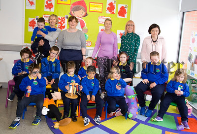 Mrs Caroline Currie, Principal Rathore School pictured with some of the new pupils along with Mrs Delores Morgan and classroom assistants. R1838041