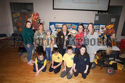 Rathore pupils and teachers are pictured with Stell Maguire (Helping the Homeless) along with Ciara McGivern and Tina Henry from Womens Aid Armagh and Down during the annual Harvest Assembly. R1843002