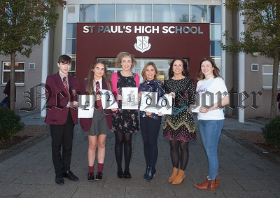 St Paul's High School Bessbrook raise £2100 for Ellens Journey. Pictured with Claire Donnelly are Jack Donnelly, Orla o'Neill, Cayriona McCartan (Form Teacher), oonagh McArdle (Year Haed) and Christine Fearon. R1842001