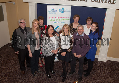 Pictured at Carers Rights day held in the Canal Court Hotel are, Aiden McCullagh (Self Directed Support SHSCT), Lorraine Murphy (Carers Trust Newry and Mourne), Ruth Allen (Carers Turst Armagh and Down), Aislinn Eician(Self Directed Support SHSCT), Michelle Moult (Carers Trust Craigavon and Banbridge), Majella Farrell (Carers Co-Ordinator SHSCT), Mark Irwin (Shortbreaks/Transition SHSCT), Pauline Rice (Carers Trust Manager) and Patricia McCrink (Carers Co-Ordinator SHSCT). R1849002