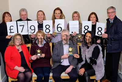 the winning Businesses in the 2017 Southern Area Hospice Accumulator Challenge received their trophies at a presentation night in the hospice. Pictured front: Fiona Stephens, Southern Area Hospice; Regina Quigley, Halifax, Third place; Gerry Brady, Royal Mail, First Place and Judith McMahon, Pat's Chippy, Sponsor,  Also included are back from left: Majella Gollogly, Southern Area Hospice; Tom McAvoy, The Milestone, Rathfriland; Christine Mucha, Sodexo; Margaret Thompson, Sodexo; Bernadette Cunningham, Cunningham's of Kilkeel; James Cunningham, Cunningham's of Kilkeel. and Ann McAvoy, Milestone, Rathfriland. Photograph: Columba O'Hare