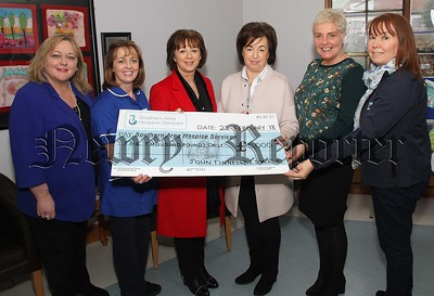 Southern Area Hospice were the recipients of cheque for the amount of £5,000 from John Tinley  & Sons. The cheque was raised by donations lieu of Christmas gifts, and the cheque was handed over to staff of the Newry Hospice by Joanne Campbell and Rosin Franklin.  [1] Pictured l/r- Fiona Stephens [Hospice] Lillian Tinnelly [Staff Nurse. Hospice] Roisin Franklin [Tinnelly brothers] Joanne Campbell [Tinnelly Brothers] Liz Cuddy [Hospice, CEO] and Majella Gallogly Newry Hospice]