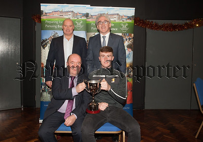 Guest Colie Bell is pictured with Conor Tierney winner of the Statsport Cup for BTEC Subsidiary Diploma in Sport Award. Also pictured are Principal Cormac McKinney and Cathal Murray. R1901004