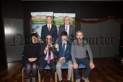 Guest Colie Bell is pictured James King and His parents winner of the Dariush Mehrtash Perpetual Memorial Award. Also pictured are Principal Cormac McKinney and Eamonn McEvoy. R1901003
