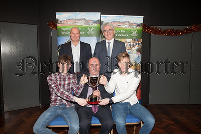 Guest Colie Bell is pictured with Stephen Grant and Jack O'Doherty winners of the Stat Sport BTEC Double Award. Also pictured are Principal Cormac McKiney and Cathal Murray. R1901002