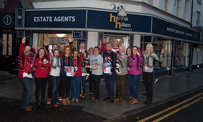 Pictured are staff from Hanna Hillen Financial Services and Estate Agency who held their annual Coffee morning in aid of Cancer Reserach and The Air Ambulance Northern Ireland. R1851004