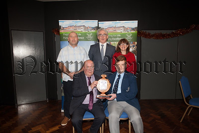 Guest Collie Bell is pictured with Daire Mallon and His parents winner of the Kevin J Murphy Award. Also pictured is Principal Cormac McKinney. R1901006