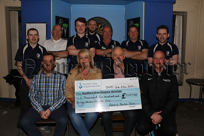 BEARS DARTS TEAM PRESENT CHEQUE TO SOUTHERN AREA HOSPICE