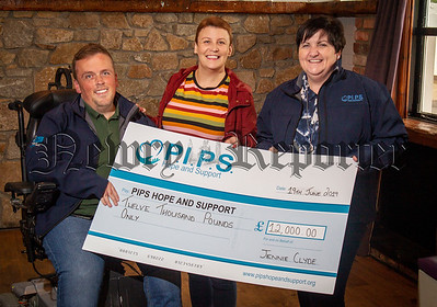 PIPs Hope & Support    Representatives from PIPS Hope & Support  accept a cheque for an amazing  £12,000 from Jennie Clyde who organised a sponsored Head Shave in memory of her nephew Curtis Clyde.   Left to Right;  Padraig Harte, PIPS Hope & Support Fundraising Co-ordinator, Jennie Clyde & Roisin Martin PIPs  Hope & Support ,Family Support Worker