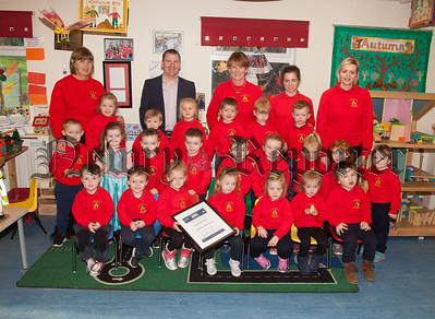Tony McKeown is pictured with Staff and Pupils at Dominican Playgroup who were highly Commended at the Road Safety Awards 2018. R1849001