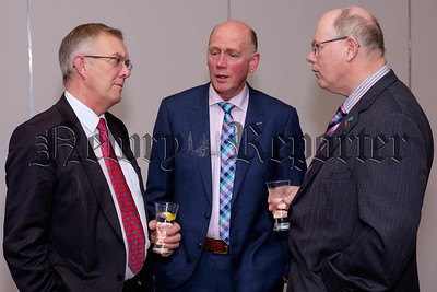 Ivor Ferguson, left, President, Ulster Farmers Union chats to George Bolton, Chairman, Co Londonderry UFU and Damian McCloskey, Chairman, Co Antrim UFU at the County Armagh UFU Dinner in Newry. Photograph: Columba O'Hare/ Newry.ie