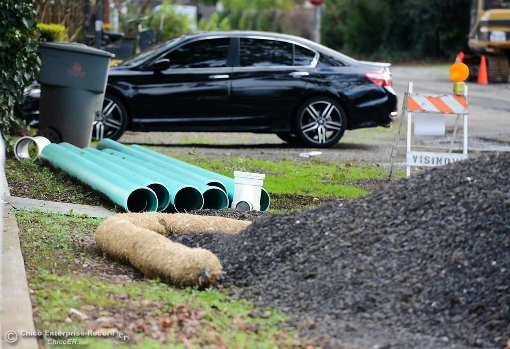 . Equipment has been set up as work to add sewer lines along Sequoyah and Algonkin Avenue has begun Wednesday January 10, 2018 in Chico, California. (Emily Bertolino -- Enterprise-Record)