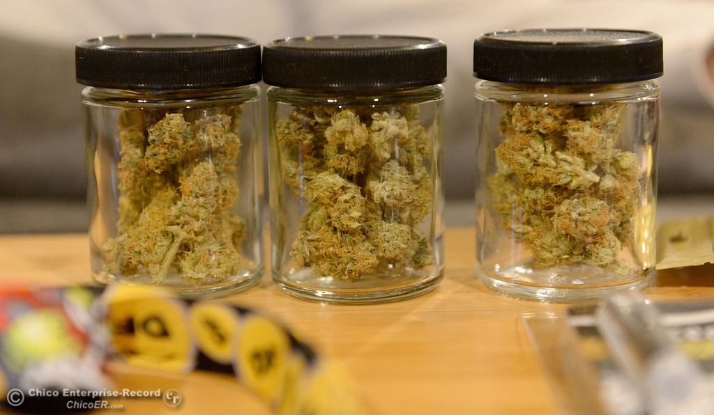 . Samples of products are seen on a table as former Cannabis dispensary/delivery owner Samuel Monteon talks about the industry and the hopes he has for change during an interview at his Chico, Calif. home Mon. Jan. 8, 2018.  (Bill Husa -- Enterprise-Record)