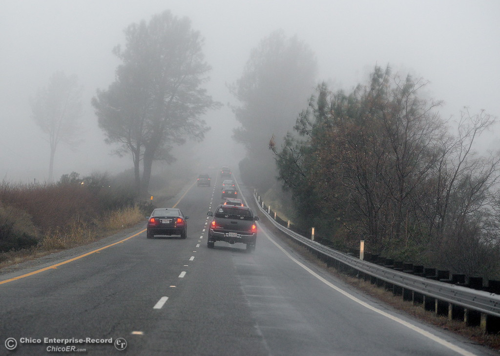 . Drivers face wet and foggy weather heading down Skyway from Paradise, Calif. Wed. Jan. 10, 2018.  (Bill Husa -- Enterprise-Record)