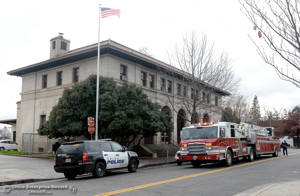 . Emergency vehicles are seen at the Post Office on 5th Street in downtown Chico, Calif. Wed. Jan. 10, 2018.  A firefighter said it was for a medical response but the person had left. (Bill Husa -- Enterprise-Record)