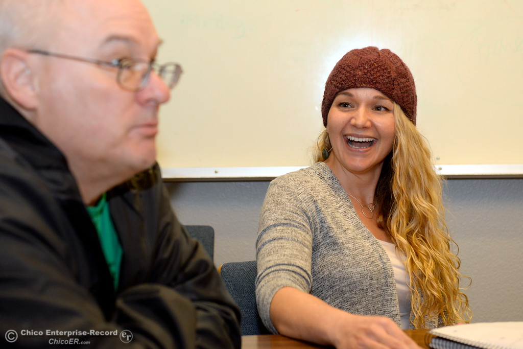 . Supervisor Bill Slack and Mental Health Consultant Mandi Robertson talk about programs available at the Torres Shelter in Chico, Calif. Wed. Jan. 24, 2018.  Bill Husa -- Enterprise-Record)