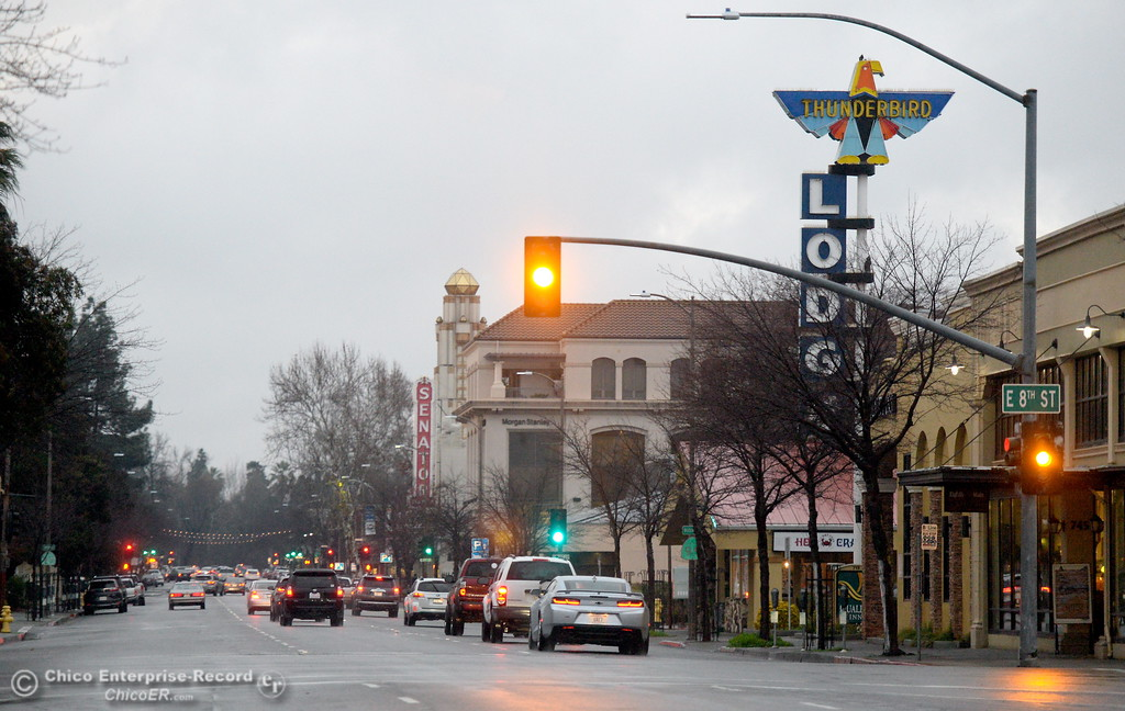 . A look down Main Street as a storm rolls through Chico, Calif. Wed. Jan. 24, 2018.  Bill Husa -- Enterprise-Record)