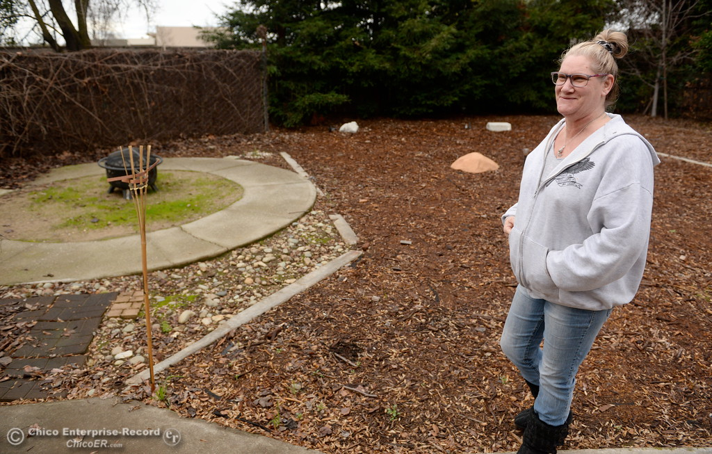 . Kimberley Bailey, Resident Manager at Path to Recovery women\'s home shows off their backyard in Chico, Calif. Thurs. Jan. 25, 2018.  Bill Husa -- Enterprise-Record)