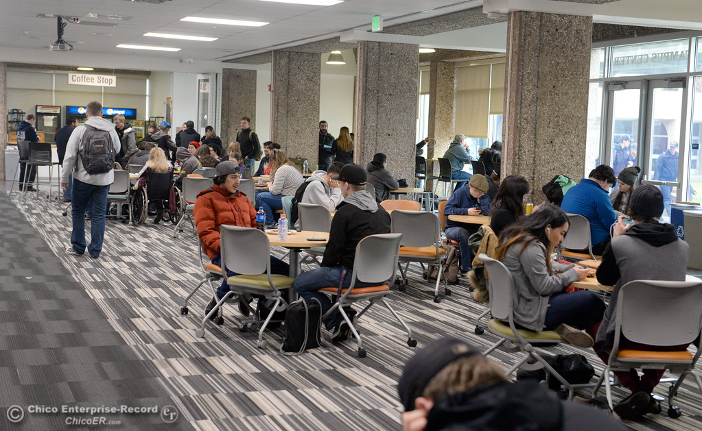 . Students enjoy warmth and the smell of fresh coffee inside of the Student Center as the spring semester begins on the Butte College Main campus Monday Jan. 22, 2018. (Bill Husa -- Enterprise-Record)