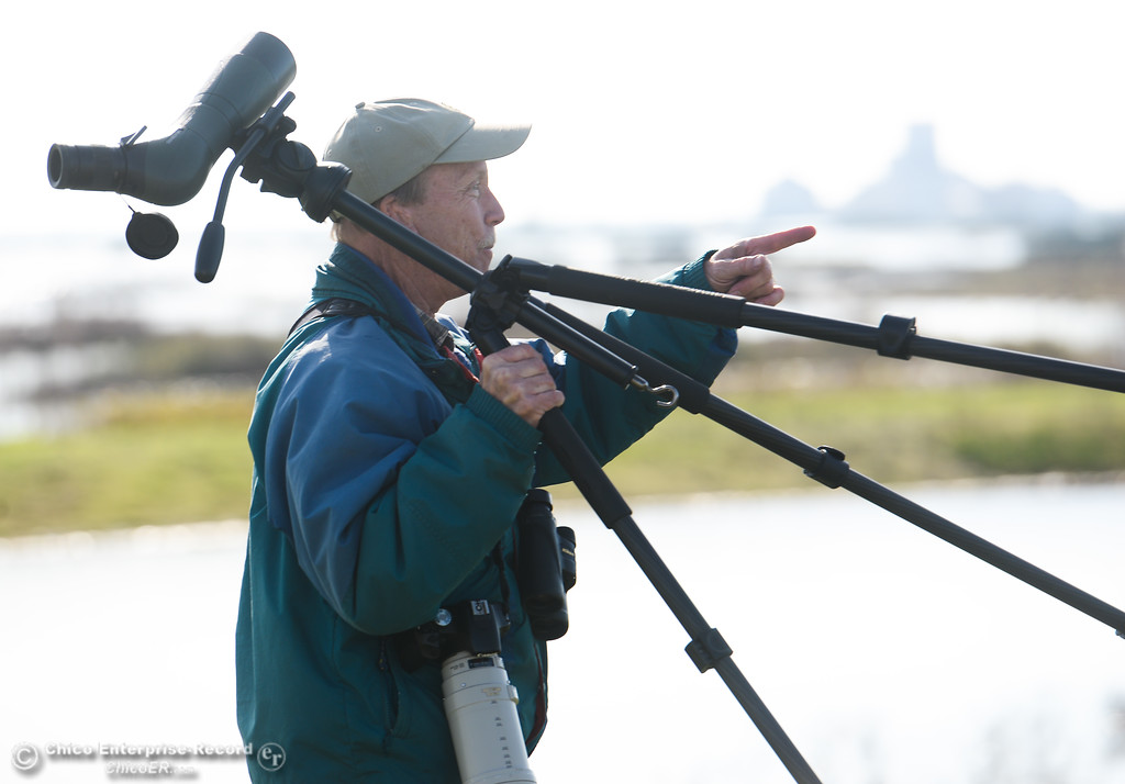 . Allen Bertke of Grass Valley observing birds during the Snow Goose Festival Saturday, January 27, 2018, in Chico, California. (Carin Dorghalli -- Enterprise-Record)