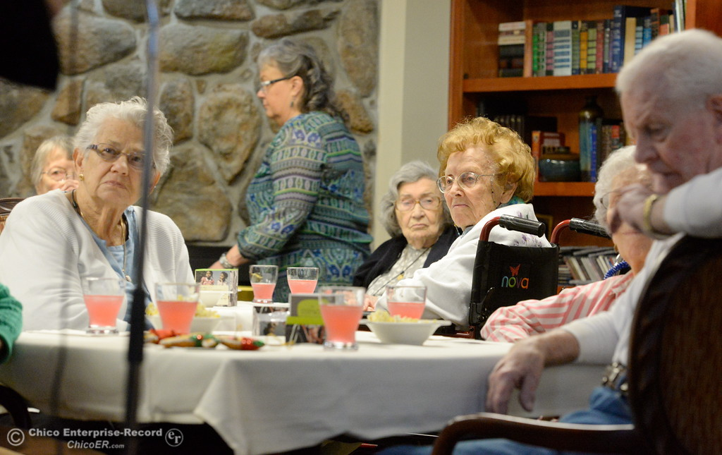 ". Residents at Atria of Paradise listen as Executive Director Kelly Frederickson left and Butch Frederickson  speak during their Story Wise ""Better Together\"" event Monday Jan. 22, 2018. (Bill Husa -- Enterprise-Record)"
