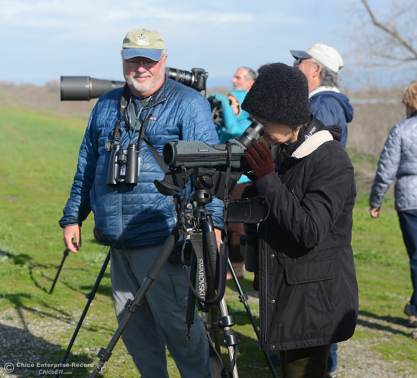 . A line of bird-watchers during the Snow Goose Festival Saturday, January 27, 2018, in Chico, California. (Carin Dorghalli -- Enterprise-Record)