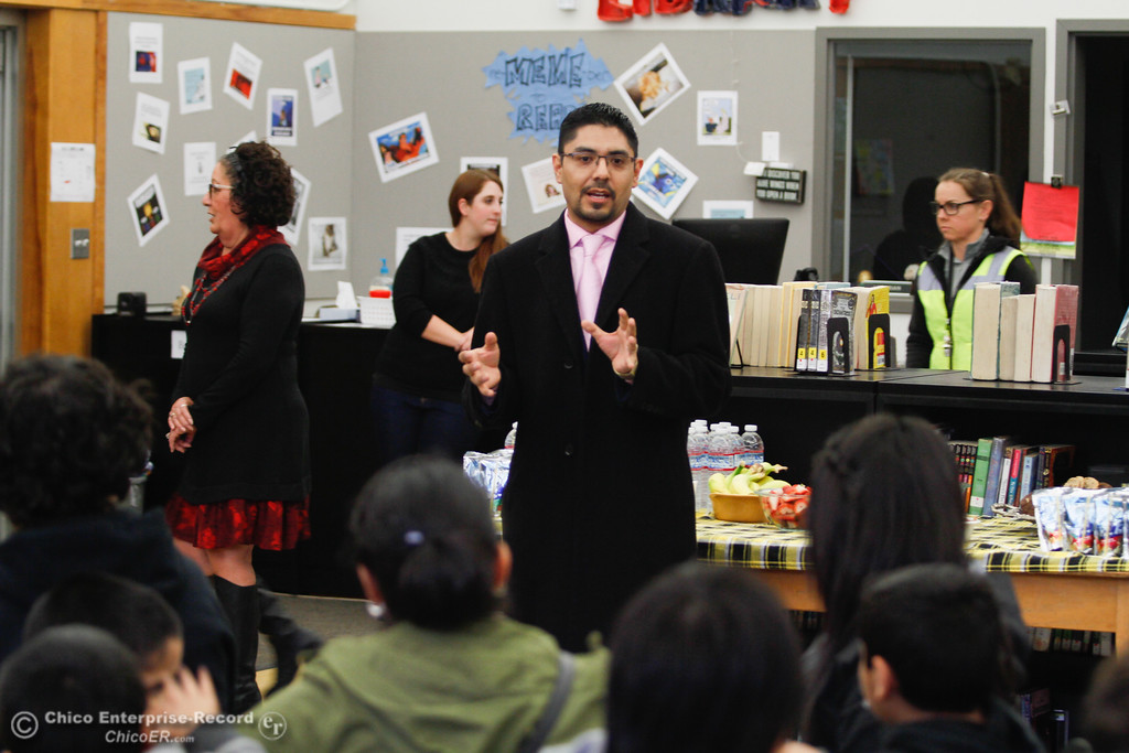 ". Local Attorney Sergio Garcia says a few words of encouragement to 20 students who passed the California English Language Development Test (CELDT) to officially be reclassified as �Fluent English Proficient"" at Bidwell Junior High School, Chico, California. (Carin Dorghalli -- Enterprise-Record)"