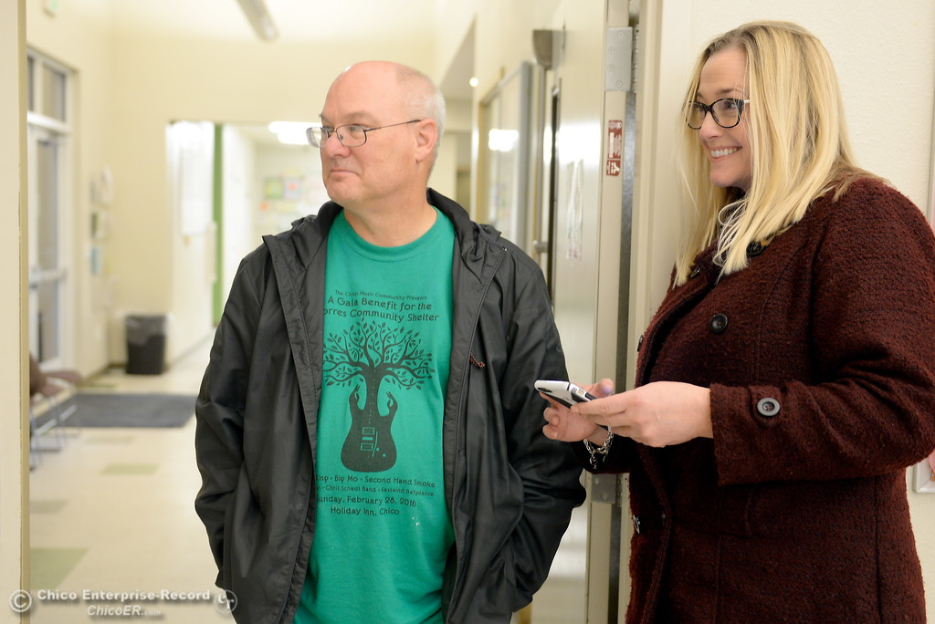 . Supervisor Bill Slack and Executive Director Joy Amaro talk about programs available at the Torres Shelter in Chico, Calif. Wed. Jan. 24, 2018.  Bill Husa -- Enterprise-Record)