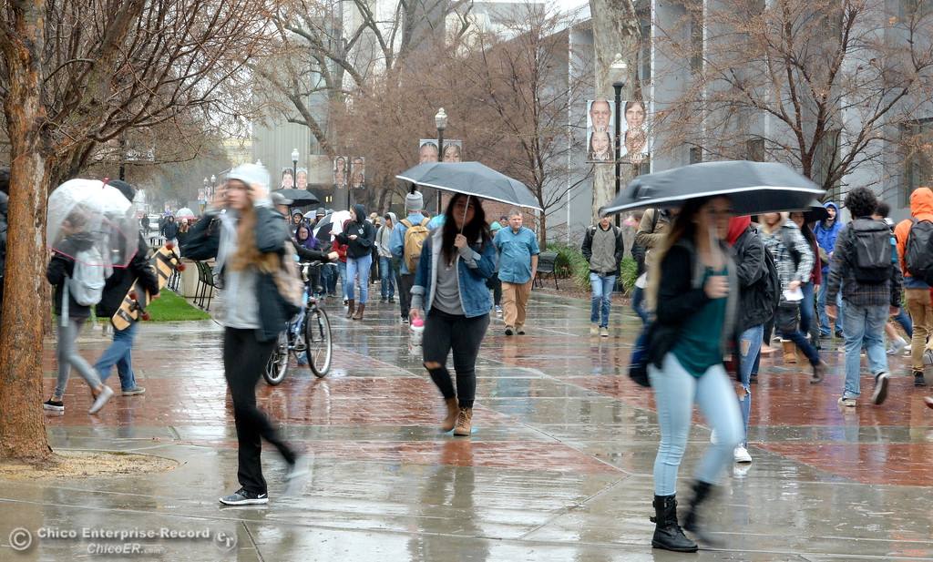 . Students roam between classes on the CSUC campus as the spring semester begins Monday Jan. 22, 2018. (Bill Husa -- Enterprise-Record)
