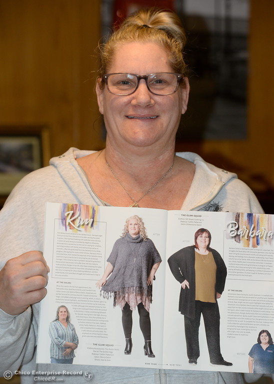 . Kimberley Bailey, resident manager at Path Straight to Recovery shows a magazine article about her recent makover at the Path to Recovery women\'s home in Chico, Calif. Thurs. Jan. 25, 2018.  Bill Husa -- Enterprise-Record)