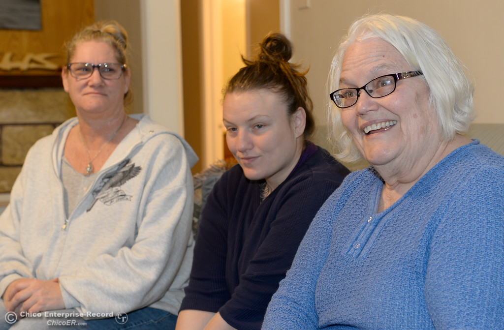 . Left to right, Kimberley Bailey, Resident Manager, Talara Cavalli, resident and Terrye Lucas, Coordinator for Path Straight to Recovery visit on the couch at the Path to Recovery women\'s home in Chico, Calif. Thurs. Jan. 25, 2018.  Bill Husa -- Enterprise-Record)
