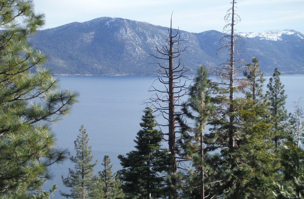 . Only a dusting of snow is seen on mountaintops around North Lake Tahoe Monday Jan. 1, 2018. (Bill Husa -- Enterprise-Record)